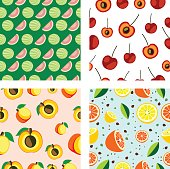 Set of vector seamless fruits patterns. Different bright backgrounds with cherries, watermelons, apricots, lemons and oranges. Series of Fruits and Sets of Patterns.