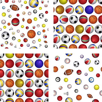Set of Vector seamless pattern with different Sports balls. Realistic vector illustration for web, logo, icon, app, UI