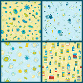 Set of vector seamless pattern with Medical supplies, accessories and attributes. Pills, bacteria, mask and more. Stylized drawing for web design, logo, app, UI. Stock illustration