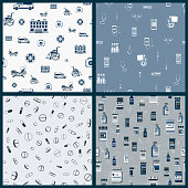 Set of vector seamless pattern with outlines of Medical supplies, accessories and attributes. Hospital, wheelchair, mask and more. Stylized drawing for web design, logo, app, UI. Stock illustration
