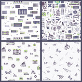 Set of vector seamless pattern with outlines of Medical supplies, accessories and attributes. Microscope, hospital, wheelchair, mask and more. Stylized drawing for web design, logo, app, UI