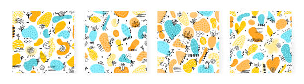 Set of vector seamless patterns with hand drawn abstract shapes. Spotted and textured figures. Unique design vector art illustration