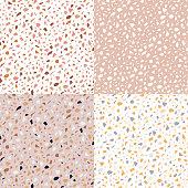 Set of vector seamless terrazzo texture patterns