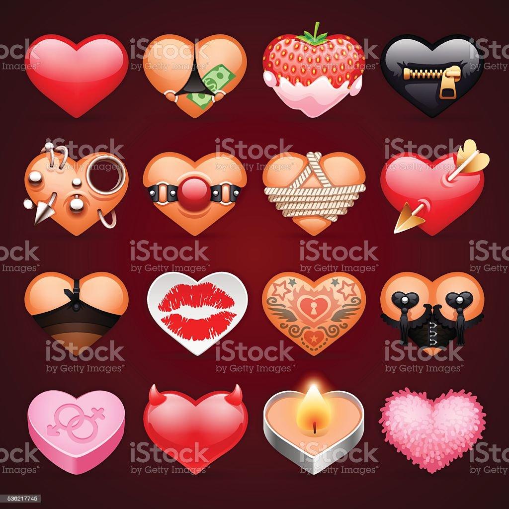 Set of Vector Sex Hearts Icons vector art illustration