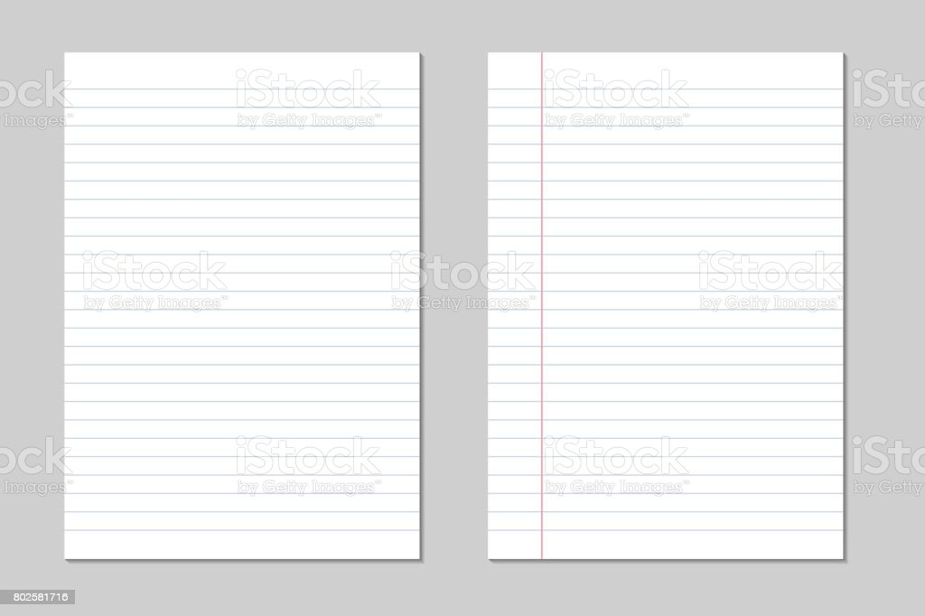 Set of vector sheets of lined paper with border isolated on a gray background vector art illustration