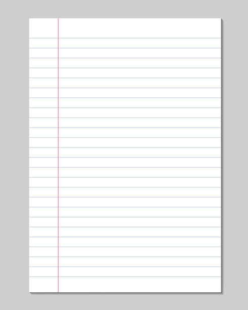 set of vector sheets of lined paper with border isolated on a gray background - lined paper stock illustrations