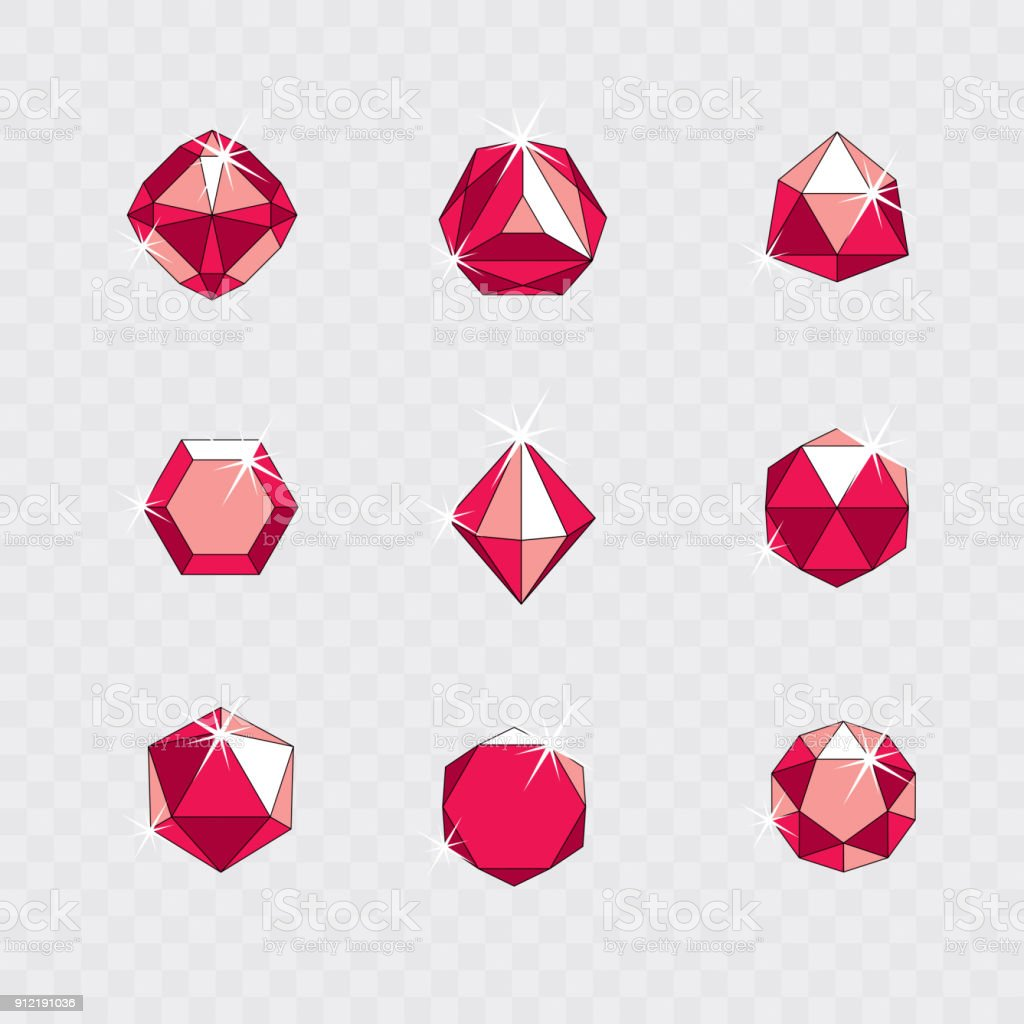 Set of vector shining gemstone design elements. Business identity abstract symbol