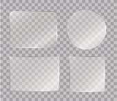 Set of vector shiny glass panels for your text or design isolated on transparent background.