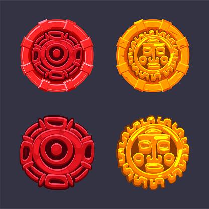 Set of vector signs symbol Aztecs Maya culture.