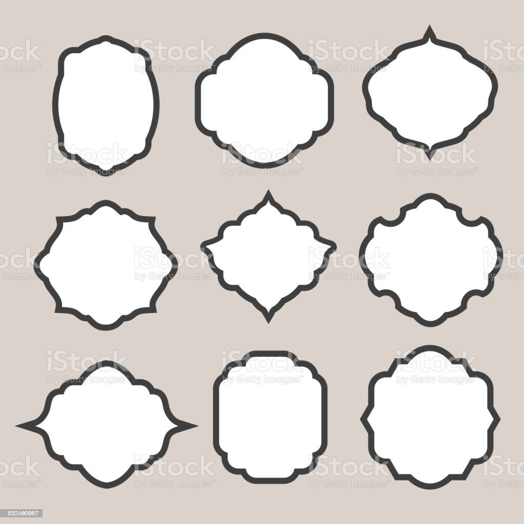 Set of vector  silhouette frames or cartouches for badges vector art illustration