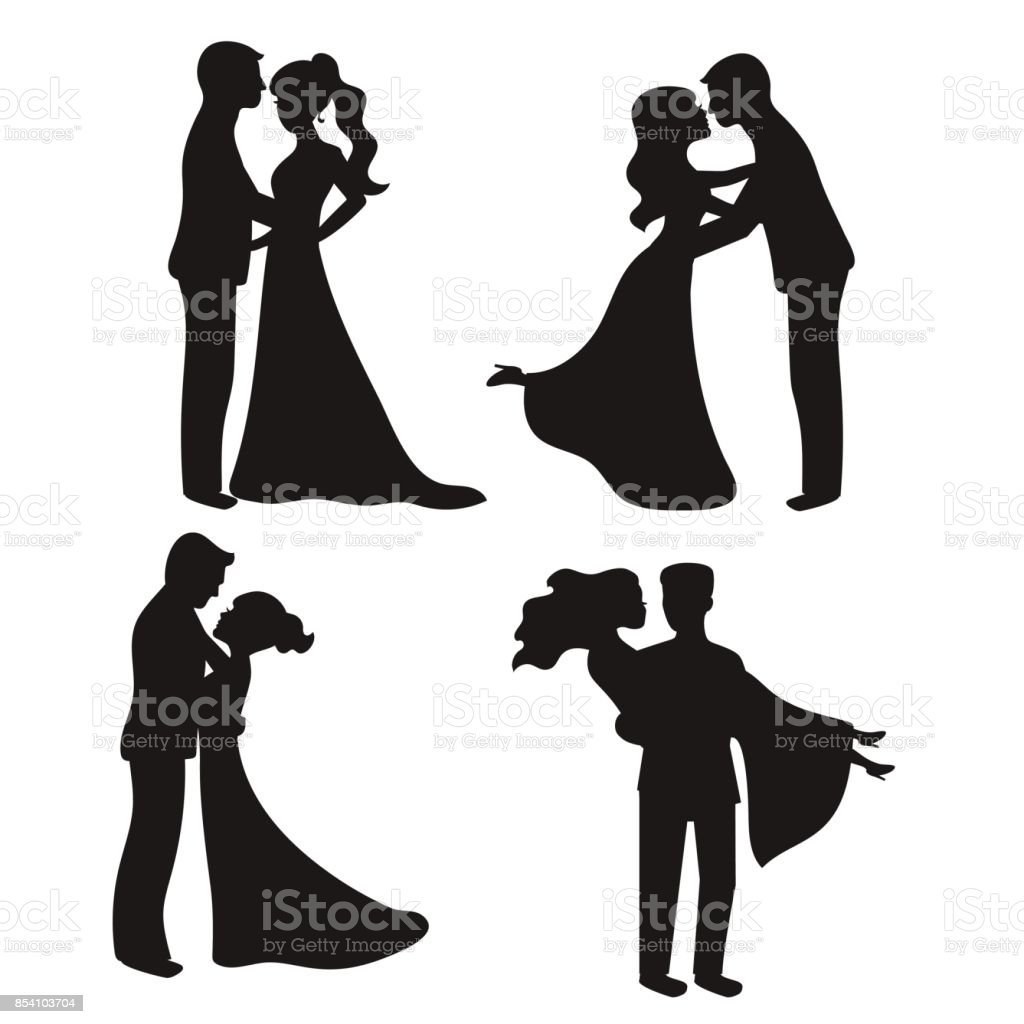 Set of vector silhouettes vector art illustration