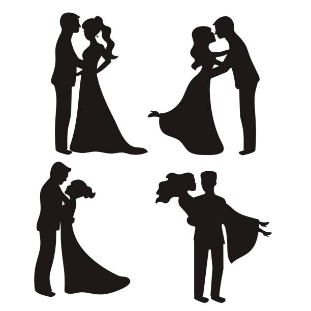 Set of vector silhouettes Set of vector silhouettes. Bride and groom. Wedding couples. bridegroom stock illustrations