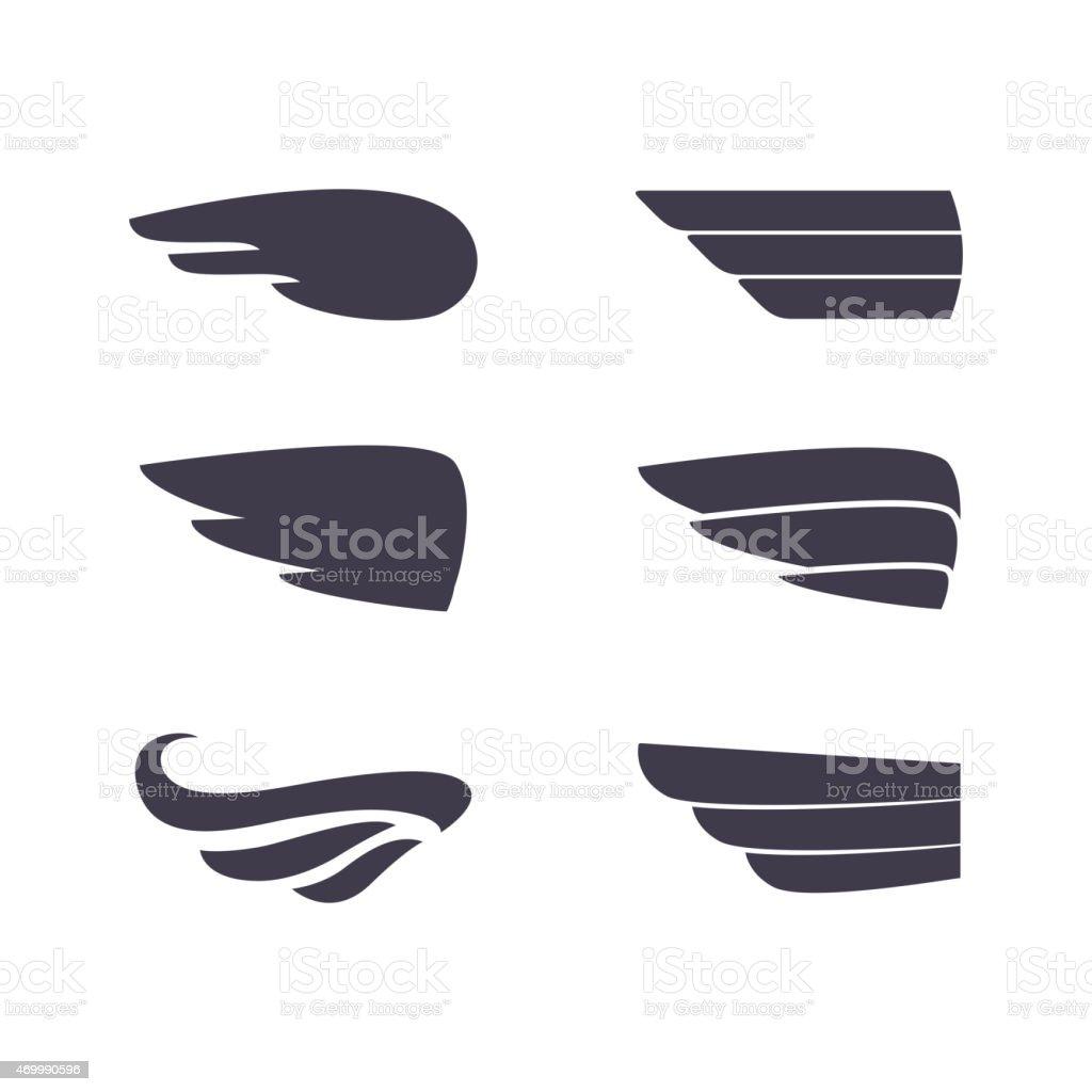 Conjunto de siluetas de vector de alas - ilustración de arte vectorial