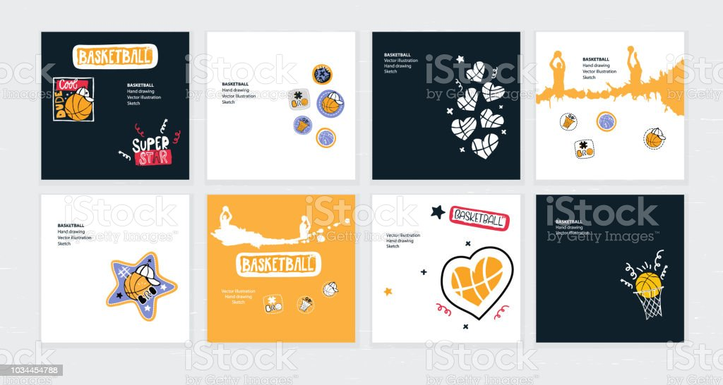 Set of vector sketch illustrations, designs for basketball. Hand drawing, lettering, sport grunge background for text
