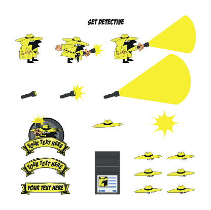 Set of vector sketches of a detective mascot character with hat and flashlight searching for clues to a crime walking on tiptoes and objects