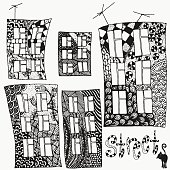 Set of vector sketches of artistically houses.
