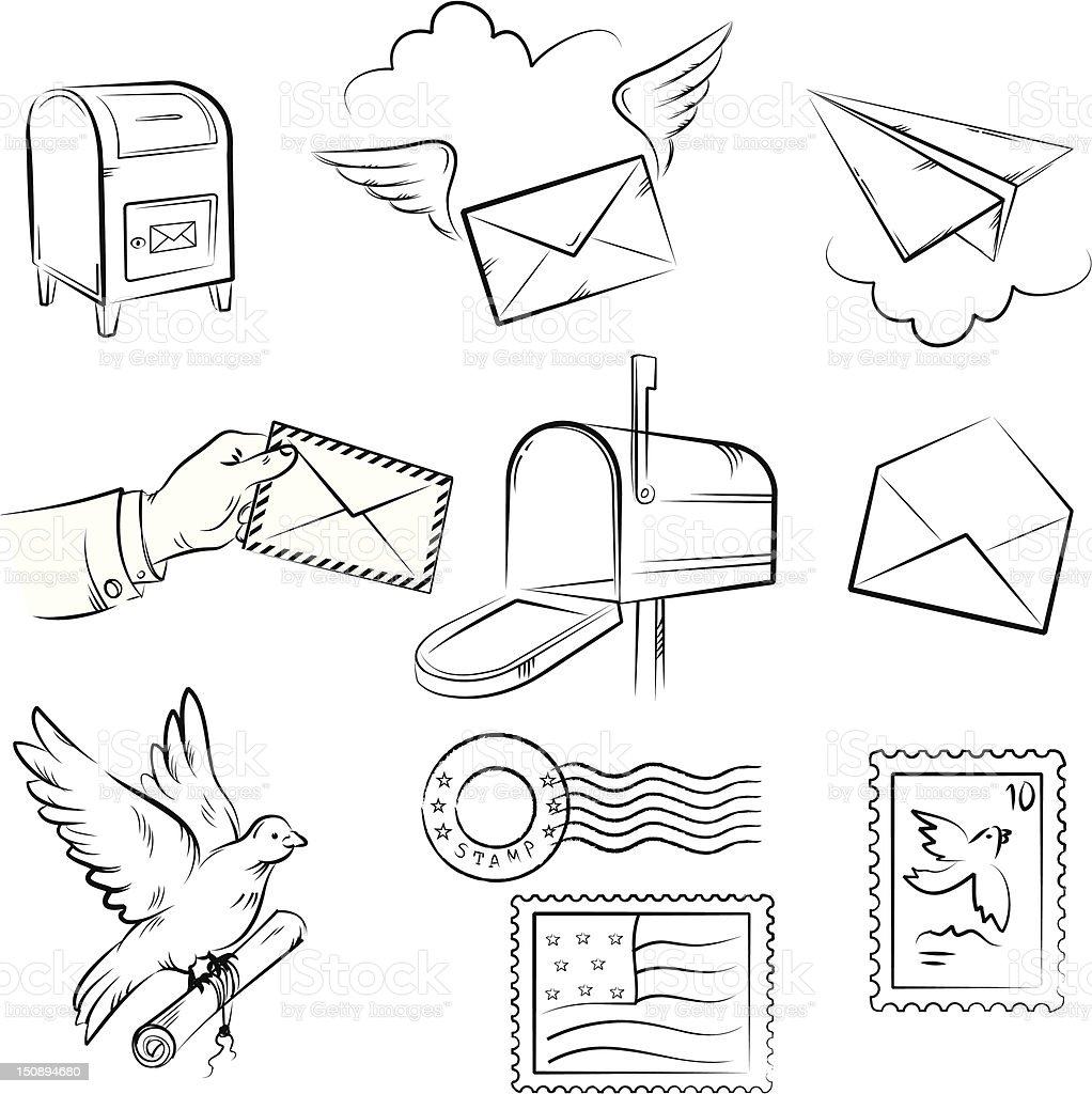 Set of vector sketches on mail and post delivery theme royalty-free stock vector art