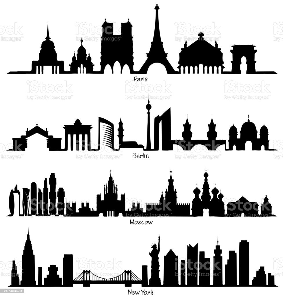 Set of vector Skyline silhouette vector art illustration