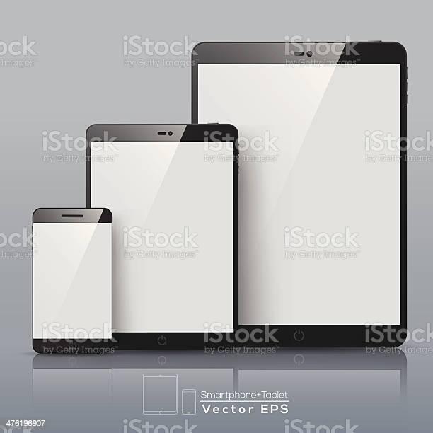 Set Of Vector Smart Phone And Tablet Stockvectorkunst en meer beelden van Aanraken