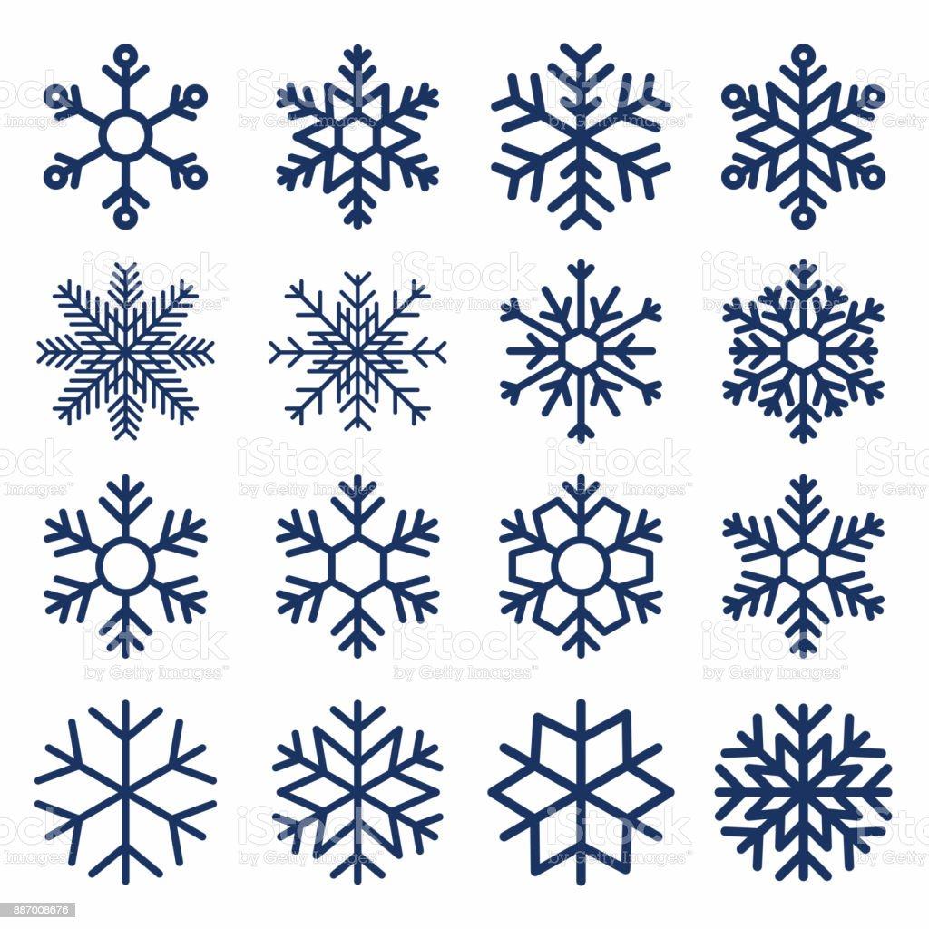 一組向量雪花。用於裝飾的雪花紋理。幾何雪符號 - 免版稅一組物體圖庫向量圖形