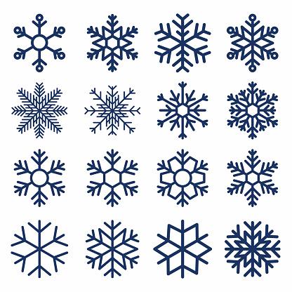 Set of vector snowflakes. Snowflake texture for decoration. Geometric snow symbol