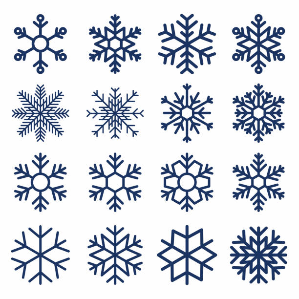 Set of vector snowflakes. Snowflake texture for decoration. Geometric snow symbol Set of vector snowflakes. Snowflake texture for decoration. Geometric snow symbol in line art style backgrounds symbols stock illustrations