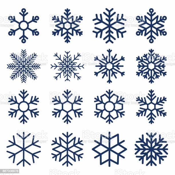 Satz Von Vektor Schneeflocken Schneeflocketextur Für Die Dekoration Geometrische Schnee Symbol Stock Vektor Art und mehr Bilder von Abstrakt