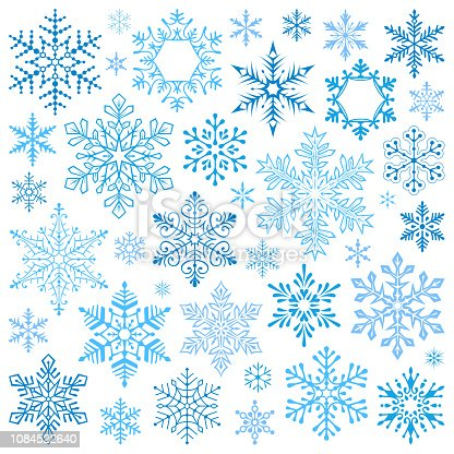 Set of snowflakes. Vector design elements, icon set. Collection of different variations. Blue snowflakes on white background.