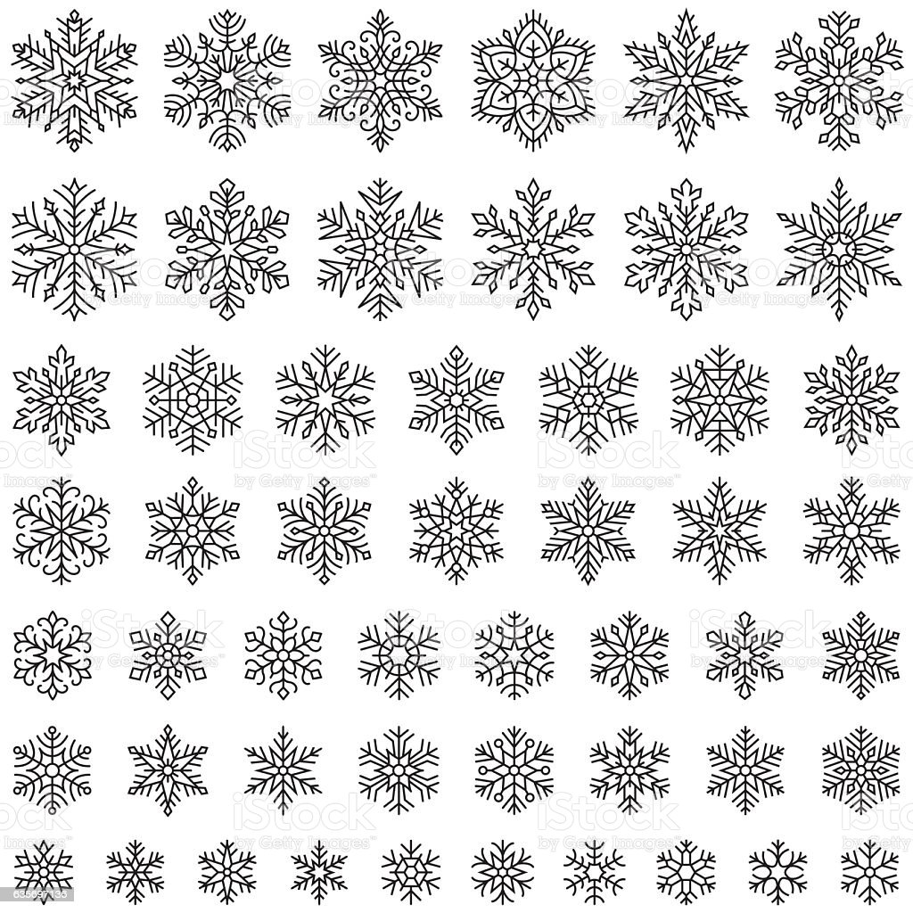 Set of vector snowflakes vector art illustration