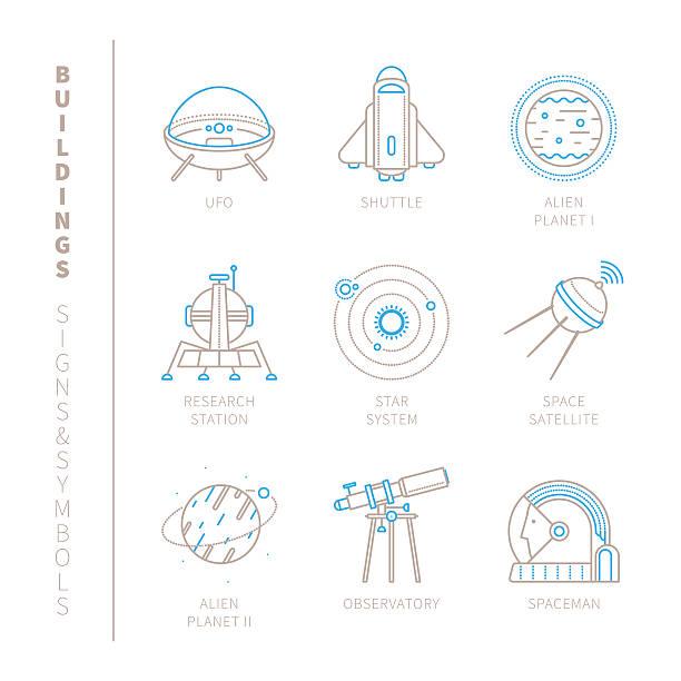 raum ein satz von vektor-icons und symbole - sternwarte stock-grafiken, -clipart, -cartoons und -symbole