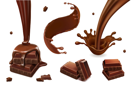 Set of vector splashes and drops of melted dark chocolate. Coffee, cocoa, liquid hot chocolate flow illustration.