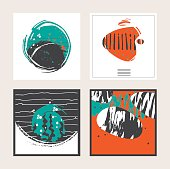 Set of vector square cards, dedicated to sea, seaweed, fish.