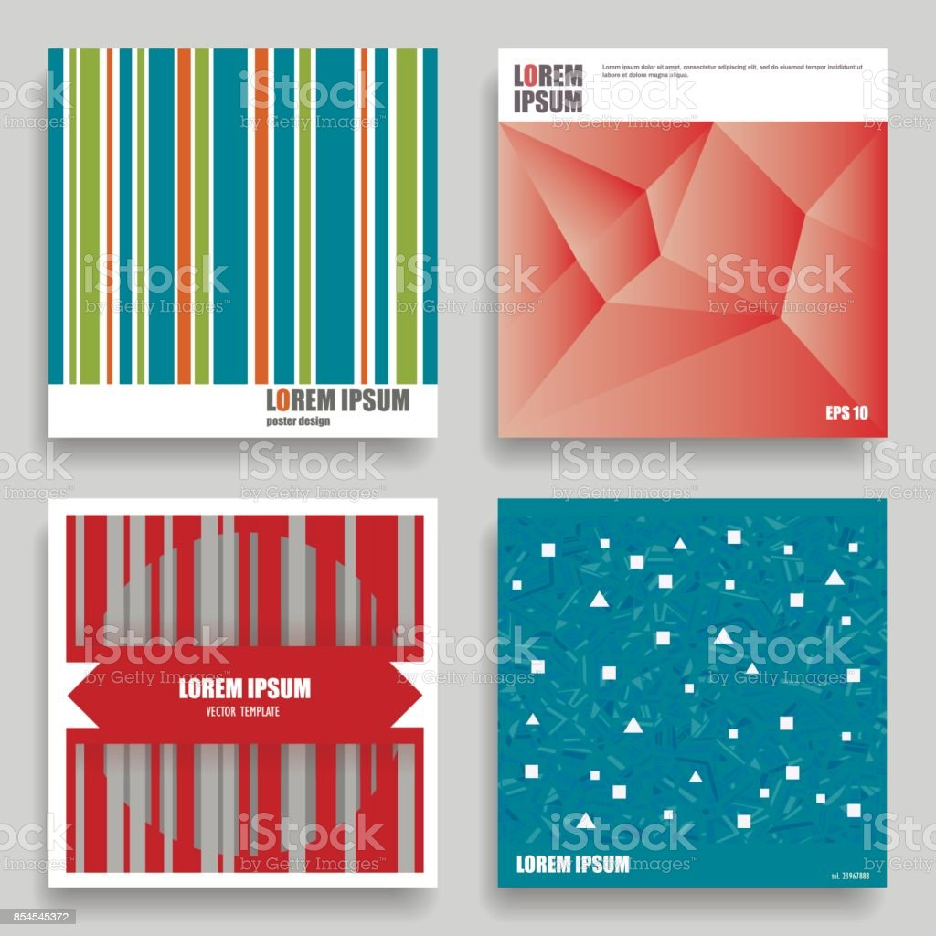 Set Of Vector Square Geometric Templates For Posters Flyers