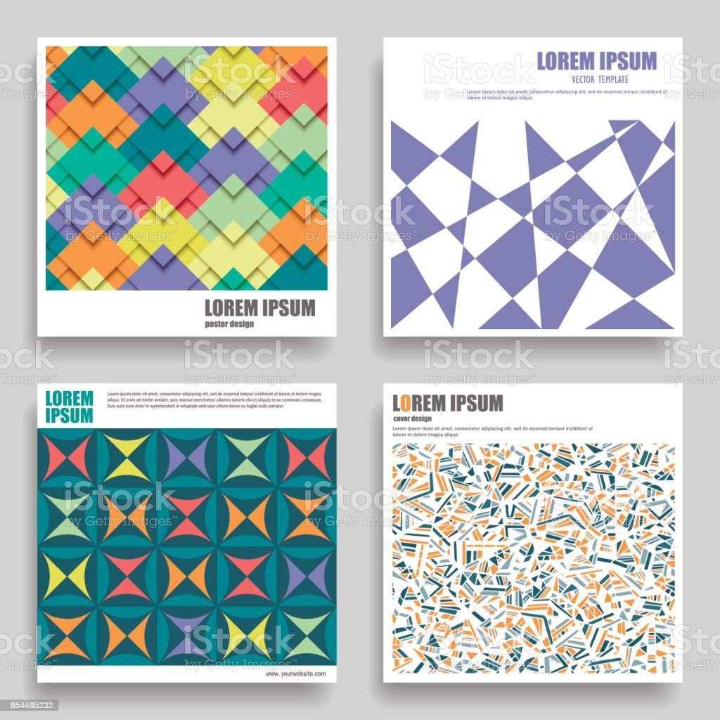 Set of vector square templates  for posters, flyers, postcards, cd covers. vector art illustration