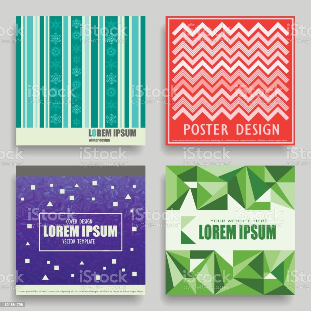 Set Of Vector Square Winter Templates For Posters Flyers Postcards