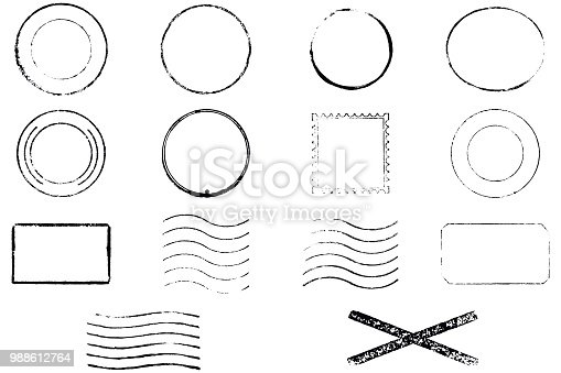Set of 14 vector stamps. Old and grunge
