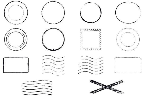 zestaw znaczków wektorowych. brak tekstu. - pieczęć gumowa stock illustrations