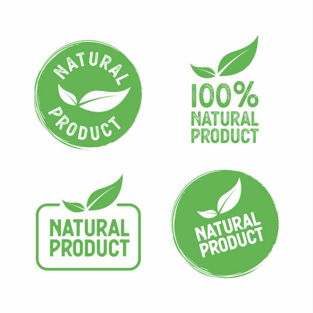 set of vector stamps with leafs natural product. - nature stock illustrations