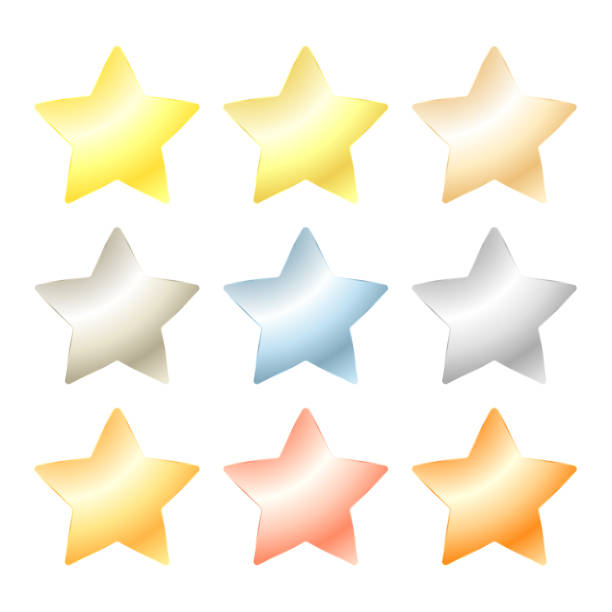 set of vector star of platinum, gold, white gold, silver, bronze, copper, brass, aluminum set of vector star of platinum, gold, white gold, silver, bronze, copper, brass, aluminum sergionicr stock illustrations