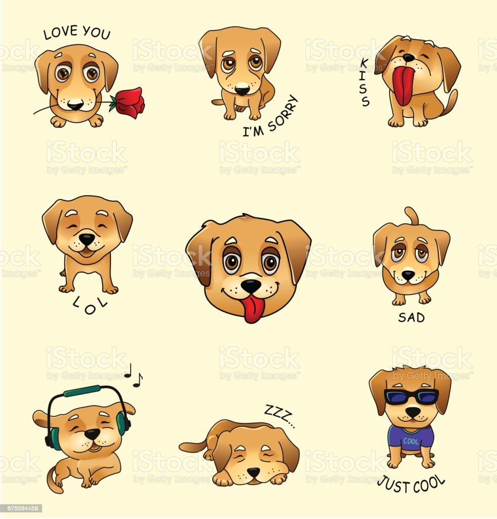 Set Of Vector Stickers Emojis With Cute Dog Stock Vector Art More