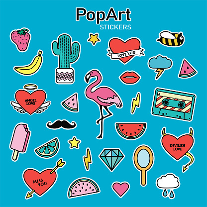 Set of vector stickers in pop art style