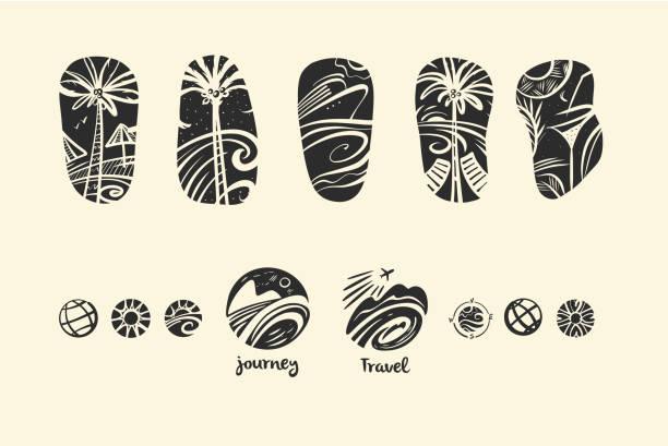 ilustraciones, imágenes clip art, dibujos animados e iconos de stock de conjunto de vector estilo a mano alzada dibujada negro de la imagen con isla trópico, crucero y palma para diseño de camiseta y tatuaje. elemento de la ilustración para la agencia de viajes y tour - tatuajes del sol