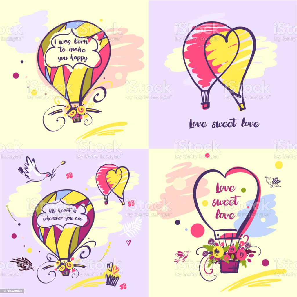 Set of vector stylish illustration balloon with flower design about love for greeting cards, posters, valentines day, save the date card with text vector art illustration