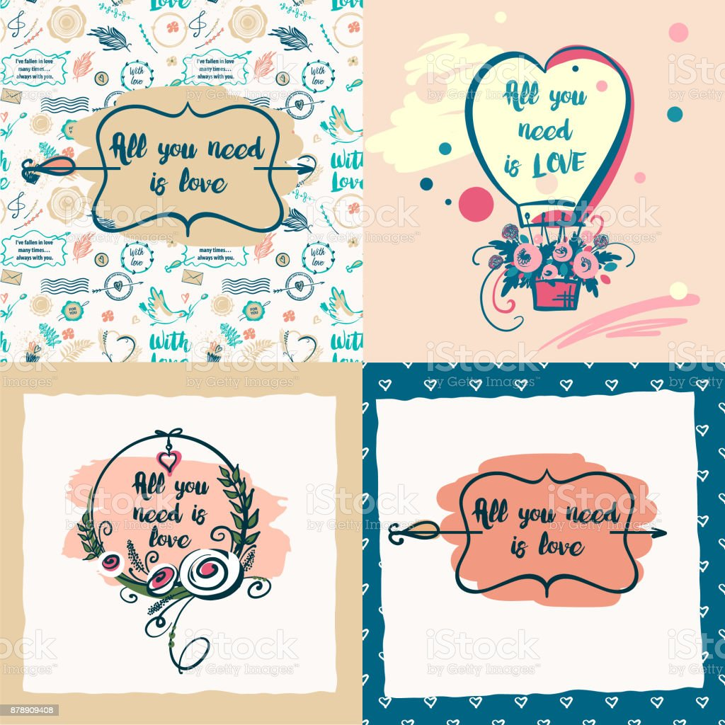 Set of vector stylish illustration with quote about love for set of vector stylish illustration with quote about love for greeting cards posters valentines m4hsunfo