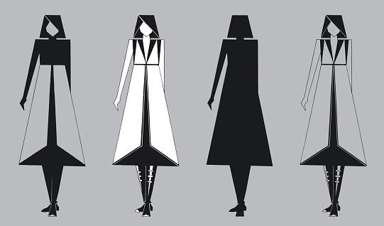 Set of vector stylized geometric shapes of women