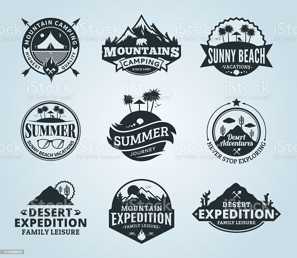 Set of vector summer, mountain and outdoor adventures labels vector art illustration