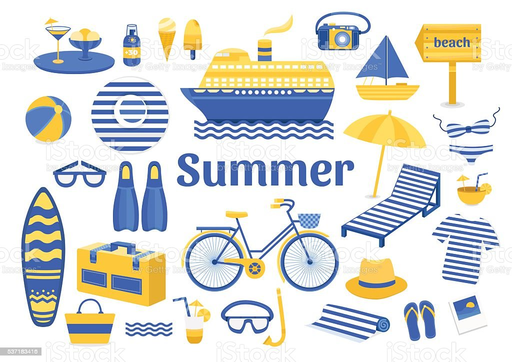 Set of vector summer vector art illustration