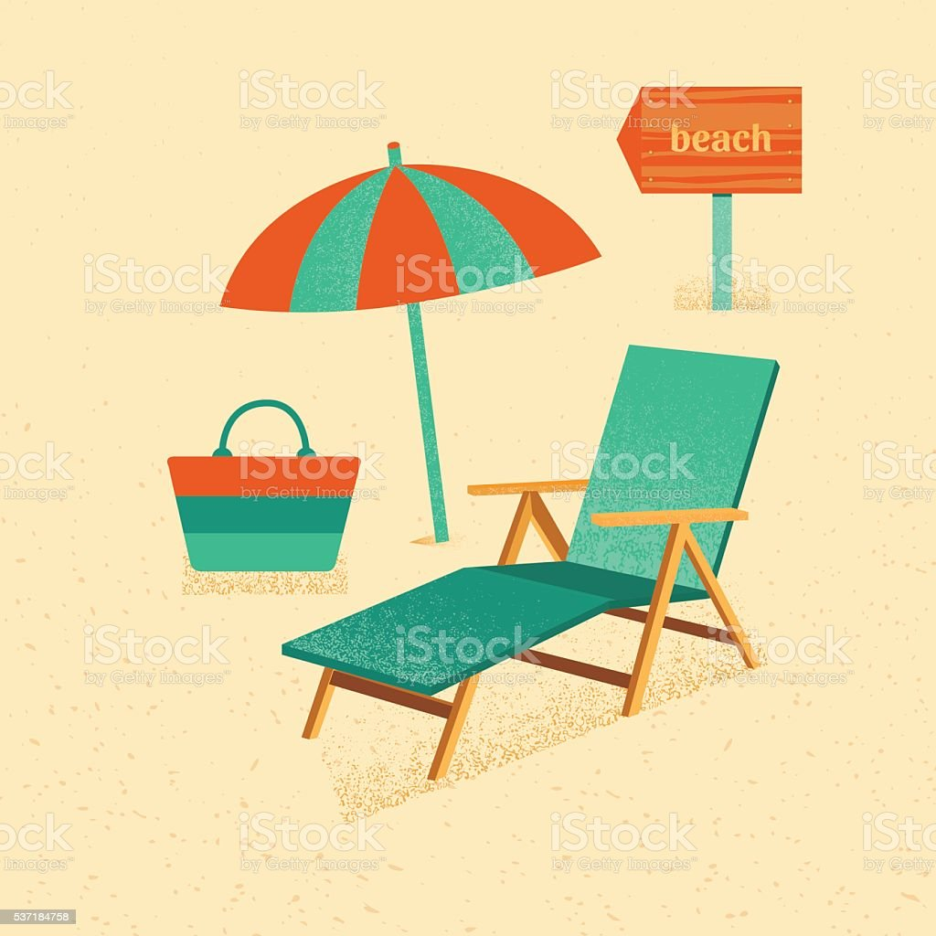 Set of vector summer with texture vector art illustration