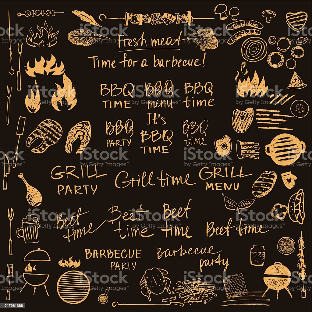Set of vector symbol for barbecue. Eco picnic of vegetables. vector art illustration