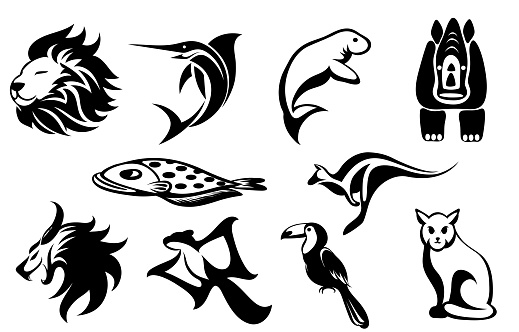 Set of vector symbol images of various animals such as lion sailfish manatee rhino Flounder kangaroo flying squirrel hornbill cat and demon Good use for symbol mascot icon avatar and logo